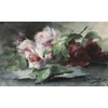 Pink and red rose branches <br />        <small>Aquarelle - <small85>Height x Width</small85> : 30 x 50,5 cm - <small85>Signed</small85> : F. Mortelmans 23 june 1906 <small85>right below</small85></small>