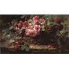 Wicker basket with pink and red roses, and glass vase <br />        <small>Oil on canvas - <small85>Height x Width</small85> : 60 x 97 cm - <small85>Signed</small85> : F. Mortelmans <small85>left below</small85></small>