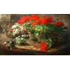 Flowerpots with red geraniums and basket with white and red daisies <br />        <small>Aquarelle - <small85>Height x Width</small85> : 59 x 100 cm - <small85>Signed</small85> : F. Mortelmans <small85>left below</small85></small>