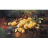 Table on which yellow roses <br />        <small>Oil on canvas - <small85>Height x Width</small85> : 60 x 100 cm - <small85>Signed</small85> : F. Mortelmans <small85>left below</small85></small>