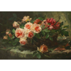 Wicker basket with pink and red roses <br />        <small>Oil on canvas - <small85>Height x Width</small85> : 55 x 80 cm - <small85>Signed</small85> : F. Mortelmans <small85>right below</small85></small>