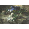 Table on which broken flowerpot with white and blue violets <br />        <small>Oil on wood - <small85>Height x Width</small85> : 40 x 60 cm - <small85>Signed</small85> : F. Mortelmans <small85>left below</small85></small>