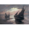 Fisherman's boats on the beach <br />        <small>Aquarelle - <small85>Height x Width</small85> : 69,5 x 98,5 cm - <small85>Signed</small85> : F. Mortelmans <small85>left below</small85></small>