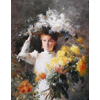 Carola, youngest sister of the painter, surrounded by chrysanthemums <br />        <small>Oil on canvas - <small85>Height x Width</small85> : 106 x 90 cm - <small85>Signed</small85> : F. Mortelmans Antw 93 <small85>right below</small85></small>