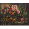 Wicker basket with roze and oranje rozen <br />        <small>Oil on canvas - <small85>Height x Width</small85> : 70 x 100 cm - <small85>Signed</small85> : F. Mortelmans <small85>right below</small85></small>