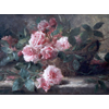 Wicker basket with pink roses <br />        <small>Oil on canvas - <small85>Height x Width</small85> : 49 x 79 cm - <small85>Signed</small85> : Frans <small85>left below</small85></small>