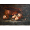 Table on which copper pot with 4 onions <br />        <small>Oil on canvas - <small85>Height x Width</small85> : 30 x 50 cm - <small85>Signed</small85> : F. Mortelmans <small85>right below</small85></small>