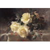 3 white-yellow roses on table <br />        <small>Oil on canvas  -  <small85>Height x Width</small85> : 38 x 58 cm  -  <small85>Signed</small85> : Frantz Anvers <small85>right below</small85></small>