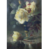 Blue vase on gold-plated base with yellow roses <br />        <small>Oil on canvas - <small85>Height x Width</small85> : 44 x 29 cm - <small85>Signed</small85> : Frantz Mortelmans <small85>left below</small85></small>