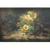 Yellow and blue violets with broken flowerpot <br />        <small>Oil on canvas - <small85>Height x Width</small85> : 31,5 x 49 cm - <small85>Signed</small85> : F. Mortelmans <small85>right below</small85></small>