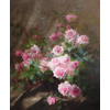 Vase with pink roses <br />        <small>Oil on canvas - <small85>Height x Width</small85> : 120 x 100 cm - <small85>Signed</small85> : F. Mortelmans <small85>right below</small85></small>