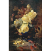 Blue vase with gold-plated edge, with yellow roses <br />        <small>Oil on canvas ? - <small85>Height x Width</small85> : ... - <small85>Signed</small85> : F. Mortelmans <small85>right below</small85></small>