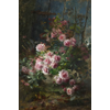Vase with pink roses <br />        <small>Oil on canvas - <small85>Height x Width</small85> : 170 x 110 cm - <small85>Signed</small85> : F. Mortelmans <small85>right below</small85></small>