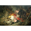 Mushrooms in the forest with fallen copper pot <br />        <small>Oil on canvas - <small85>Height x Width</small85> : 80 x 121 cm - <small85>Signed</small85> : F. Mortelmans <small85>left below</small85></small>