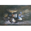 Mussels and coupe Champagne <br />        <small>Oil on canvas - <small85>Height x Width</small85> : 26 x 38 cm - <small85>Signed</small85> : Frantz Mortelmans <small85>left top</small85></small>