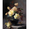 Table on which blue vase with gold-plated edge, with yellow roses <br />        <small>Oil on canvas - <small85>Height x Width</small85> : 51 x 40  cm - <small85>Signed</small85> : F. Mortelmans Antw <small85>right below</small85></small>
