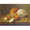 Still Life with oranges and nuts <br />        <small>Oil on canvas - <small85>Height x Width</small85> : 24 x 36 cm - <small85>Signed</small85> : F. Mortelmans <small85>right below</small85></small>