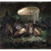 Grey pot with mussels <br />        <small>Oil on canvas - <small85>Height x Width</small85> : ... - <small85>Signed</small85> : F. Mortelmans <small85>right below</small85></small>
