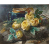 Still Life with blue cup and yellow roses <br />        <small>Aquarelle - <small85>Height x Width</small85> : 40 x 50 cm - <small85>Signed</small85> : F. Mortelmans <small85>right below</small85></small>