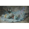 Still Life with glass, plums on cabbage leaf <br />        <small>Oil on canvas - <small85>Height x Width</small85> : 23 x 40 cm - <small85>Signed</small85> : F. Mortelmans <small85>right below</small85></small>