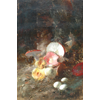 Still Life of mushrooms <br />        <small>Oil on canvas - <small85>Height x Width</small85> : 58,5 x 38 cm - <small85>Signed</small85> : F. Mortelmans <small85>left below</small85></small>