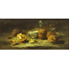 Double silver jar with nuts <br />        <small>Oil on canvas : ? - <small85>Height x Width</small85> : ... - <small85>Signed</small85> : F. Mortelmans <small85>left top</small85></small>