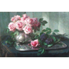 Silver plate on which tin pot with pink roses and purple flowers <br />        <small>Oil on canvas - <small85>Height x Width</small85> : 48 x 81 cm - <small85>Signed</small85> : F. Mortelmans <small85>right below</small85></small>