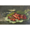 Green leave with strawberries, coupe Champagne and plate with oyster <br />        <small>Oil on canvas - <small85>Height x Width</small85> : ... - <small85>Signed</small85> : F. Mortelmans <small85>right below</small85></small>