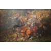 Autumn - copper pot in forest with mushrooms <br />        <small>Oil on canvas - <small85>Height x Width</small85> : 115 x 175 cm - <small85>Signed</small85> : F. Mortelmans <small85>right below</small85></small>