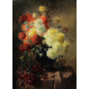 Blue vase with gold plated edge, with chrysanthemums <br />        <small>Oil on canvas - <small85>Height x Width</small85> : 90 x 120 cm - <small85>Signed</small85> : F. Mortelmans <small85>right below</small85></small>