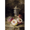 Silver chalice and peaches <br />        <small>Oil on canvas - <small85>Height x Width</small85> : 45 x 30,5 cm - <small85>Signed</small85> : F. Mortelmans <small85>left below</small85></small>