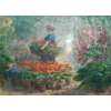 Woman with basket full of geraniums, in the greenhouse <br />        <small>Oil on canvas - <small85>Height x Width</small85> : 100 x 140 cm - <small85>Signed</small85> : F. Mortelmans <small85>right below</small85></small>
