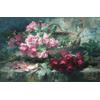 Wicker basket with pink and red roses <br />        <small>Oil on canvas - <small85>Height x Width</small85> : 66 x 83,5 cm - <small85>Signed</small85> : F. Mortelmans <small85>right below</small85></small>
