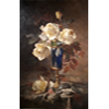 Blue vase on gold-plated base with yellow roses <small>(Texas)</small> <br />        <small>Oil on canvas - <small85>Height x Width</small85> : 19 x 31 cm - <small85>Signed</small85> : Frans Mortelmans <small85>left below</small85></small>