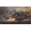 Wicker basket with purple flowers <br />        <small>Oil on canvas - <small85>Height x Width</small85> : ... - <small85>Signed</small85> : F. Mortelmans <small85>right below</small85></small>