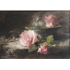 Table on which grey plate with 3 pink roses <br />        <small>Oil on canvas - <small85>Height x Width</small85> : ... - <small85>Signed</small85> : F. Mortelmans <small85>right below</small85></small>