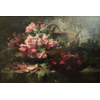 Wicker basket with pink and red roses <br />        <small>Oil on canvas - <small85>Height x Width</small85> : ... - <small85>Signed</small85> : F. Mortelmans <small85>right below</small85></small>