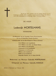 Lodewijk Mortelmans - Orbituary notice 1