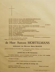 Antoon Mortelmans - Orbituary notice